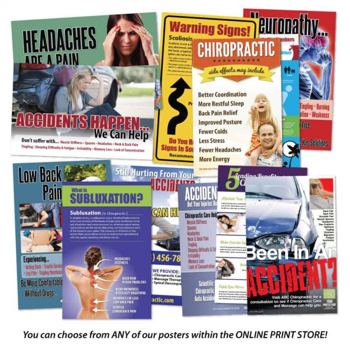 chiropractic posters, poster pack, chiropractic print materials