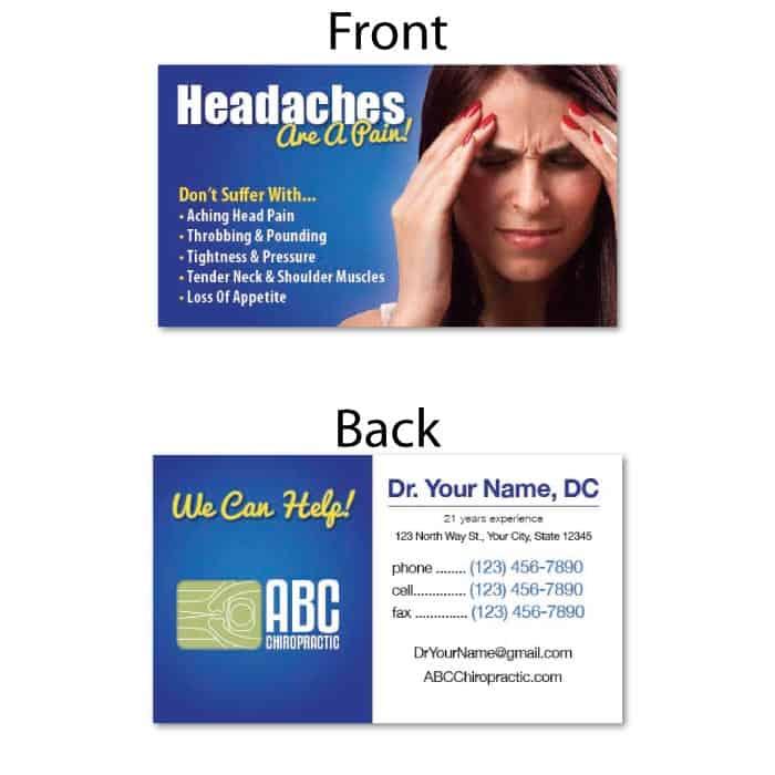 1209. Business Card - Headaches | JustUs Chiropractic Marketing