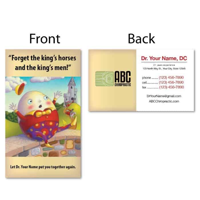 1211 Business Card Humpty Dumpty Justus Chiropractic Marketing