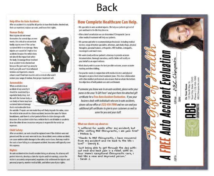 chiropractic brochure, personal injury marketing, pi marketing, chiropractic brochure, print design