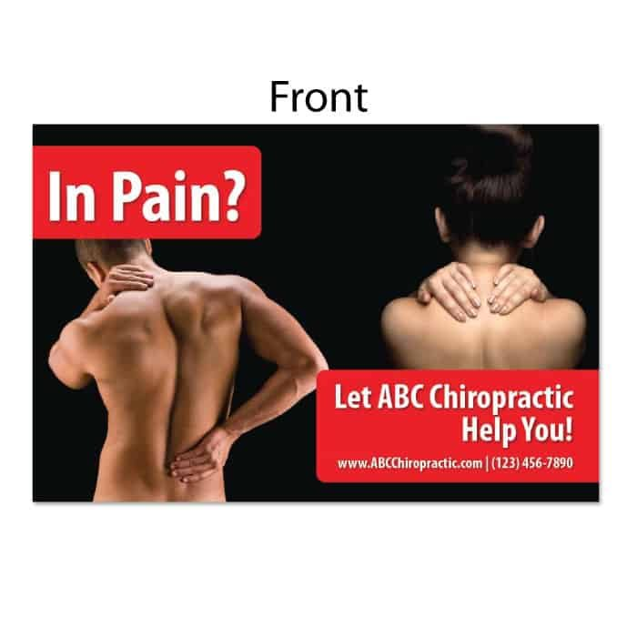 chiropractic postcard, in pain postcard, back pain postcard, neck pain postcard