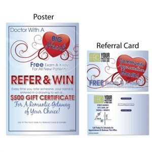chiropractic posters, boost referrals, chiropractic referral cards, marketing materials, valentines day