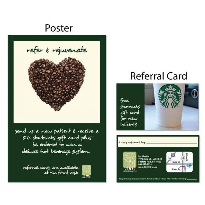 chiropractic posters, boost referrals, chiropractic referral cards, marketing materials