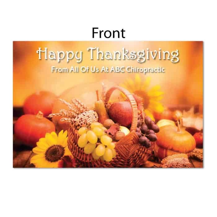 945 Postcard Happy Thanksgiving Justus Chiropractic Marketing