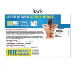 chiropractic postcards, online print store, ailment postcard, pain postcard