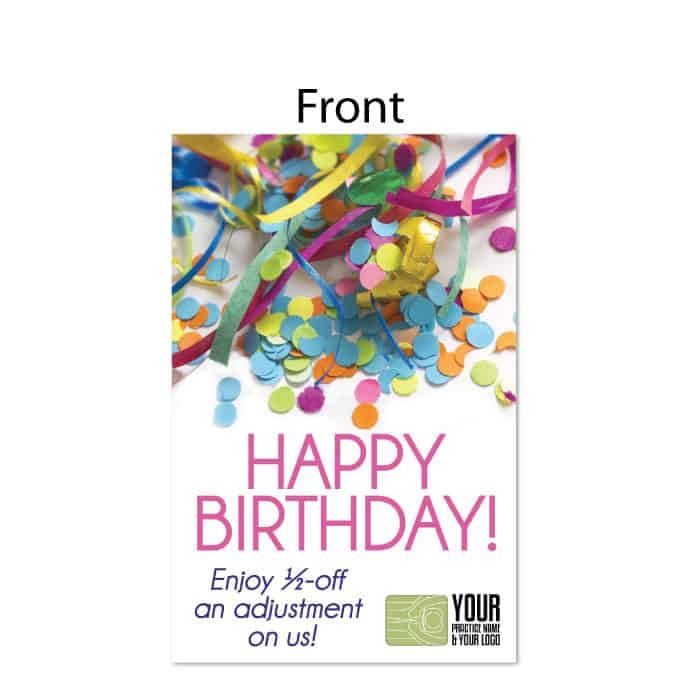 984 Postcard Happy Birthday Confetti Justus Chiropractic