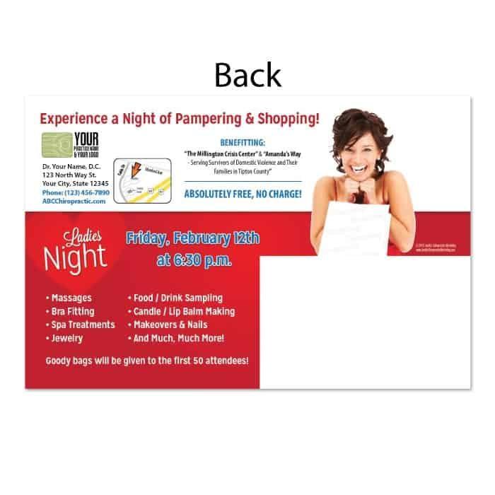 chiropractic postcards, online print store, ladies night postcard