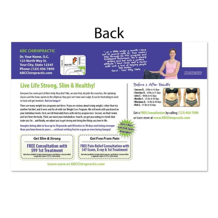 chiropractic postcards, online print store, weight loss postcard