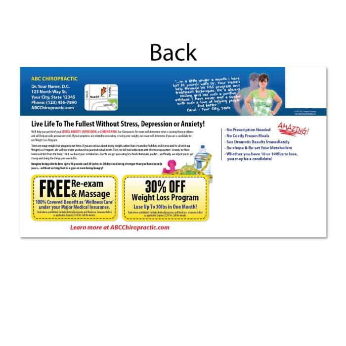chiropractic postcards, new patient postcards, online print store, weight loss postcards
