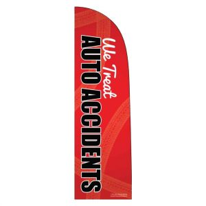 feather flag, auto accident flag, marketing materials