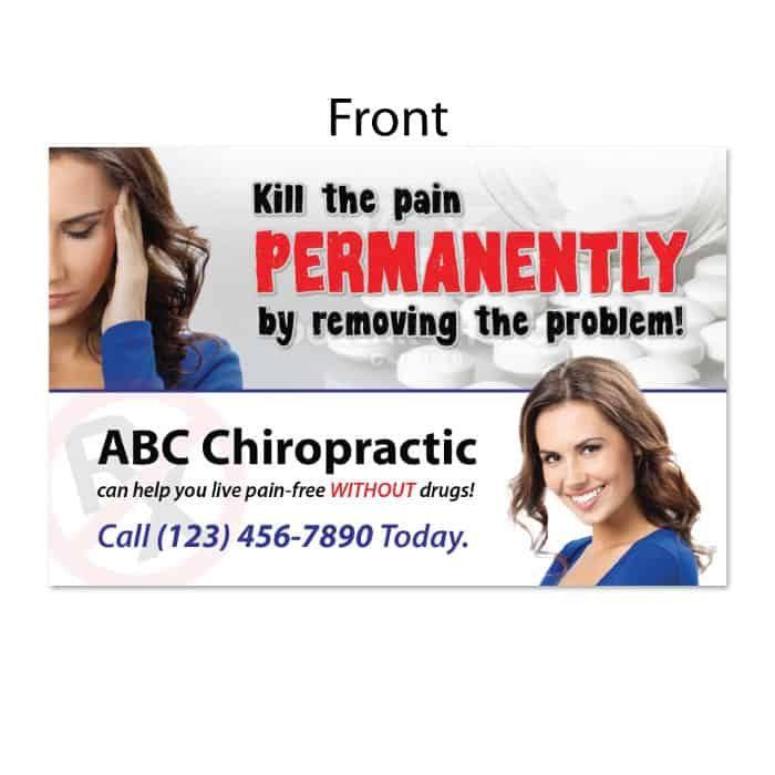 chiropractic postcards, new patient postcard, rx postcard, pain postcard, online print store