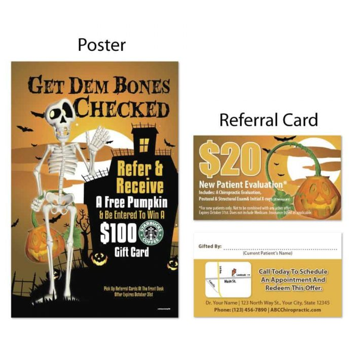 boost referrals, existing patient marketing, chiropractic posters, chiropractic referral cards, halloween design