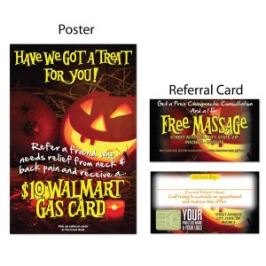 boost referrals, existing patient marketing, chiropractic posters, chiropractic referral cards, halloween design, october design