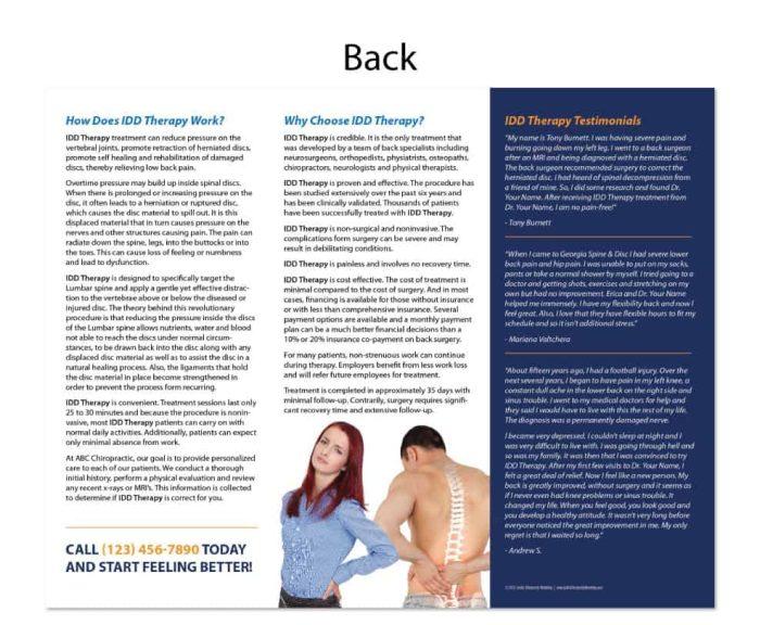 chiropractic brochure, print design, online print store, marketing materials, back pain brochure