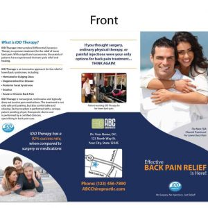 chiropractic brochure, print design, online print store, marketing materials, back pain brochure