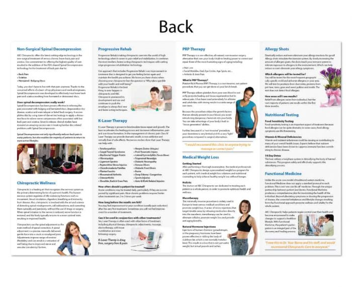 chiropractic brochure, print design, online print store, marketing materials