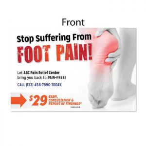 chiropractic postcard, new patient postcard, foot pain postcard, ailment postard