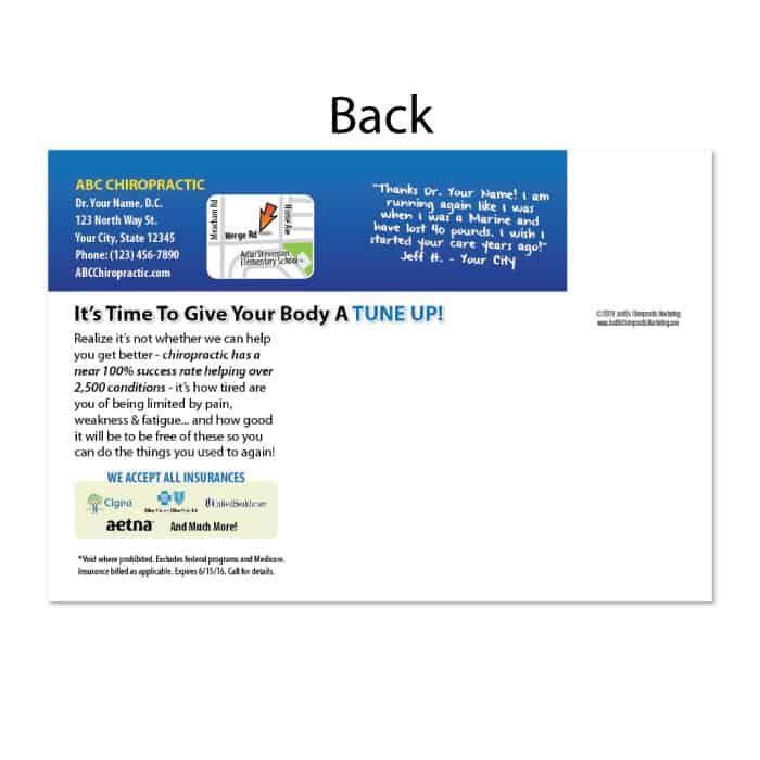 chiropractic postcard, recall postcard, reactivation postcard