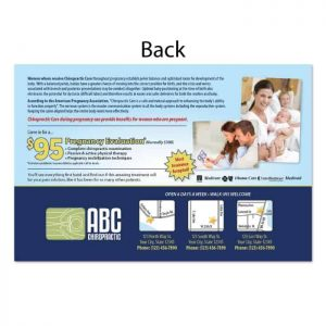 chiropractic postcard, new patient postcard, pregnancy postcard