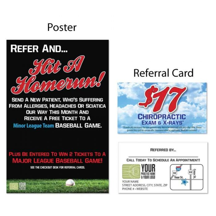 boost referrals, existing patient marketing, chiropractic posters, chiropractic referral cards, baseball