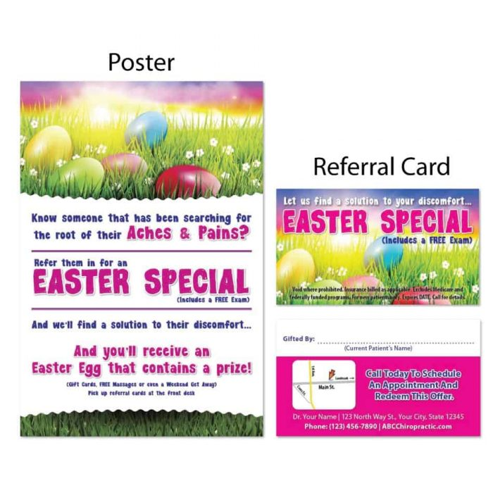 boost referrals, existing patient marketing, chiropractic posters, chiropractic referral cards, easter design