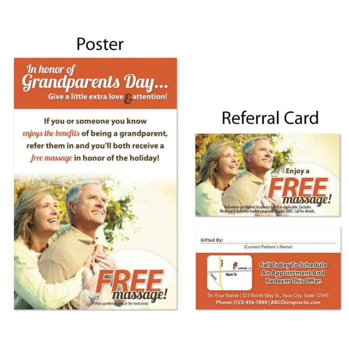 boost referrals, existing patient marketing, chiropractic posters, chiropractic referral cards
