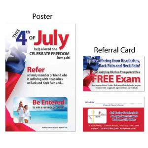 boost referrals, existing patient marketing, chiropractic posters, chiropractic referral cards, summer design