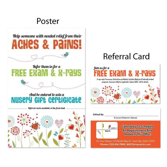 boost referrals, existing patient marketing, chiropractic posters, chiropractic referral cards, spring design