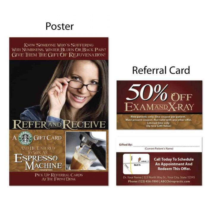 boost referrals, existing patient marketing, chiropractic posters, chiropractic referral cards, winter design
