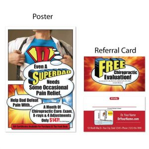 boost referrals, existing patient marketing, chiropractic posters, chiropractic referral cards, fathers day