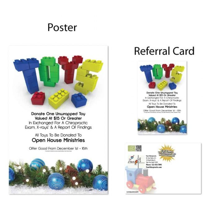 boost referrals, existing patient marketing, chiropractic posters, chiropractic referral cards, winter, toy drive