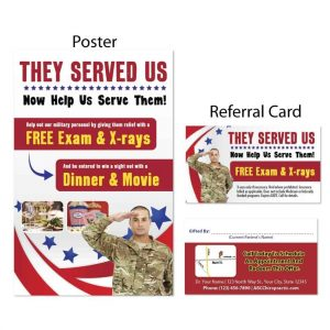 boost referrals, existing patient marketing, chiropractic posters, chiropractic referral cards, veterans day
