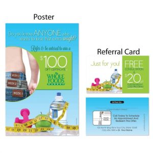 boost referrals, existing patient marketing, chiropractic posters, chiropractic referral cards, weight loss marketing