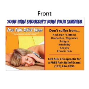 summer postcard, new patient postcard, seasonal postcard, pain free postcard, wellness postcard