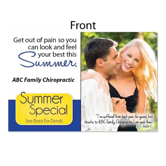 summer postcard, new patient postcard, seasonal postcard, pain free postcard, wellness postcard