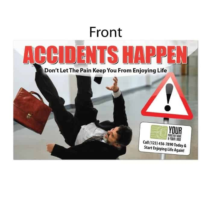 new patient postcard, accidents happen, pain postcard