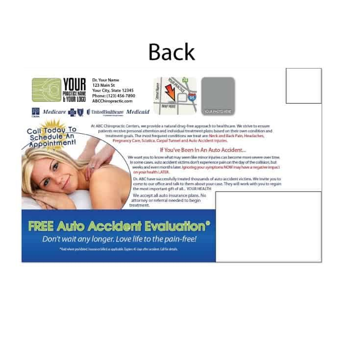 new patient postcard, wellness postcard, auto accident postcard