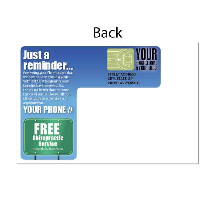 recall postcard, existing patient postcard, appointment reminder postcard, reactivation postcard