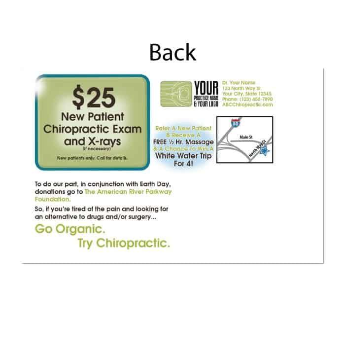 organic health postcard, new patient postcard