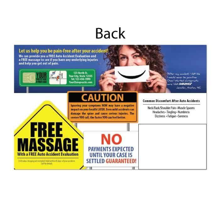 pi postcard, personal injury marketing, auto accident postcard, ailment postcard