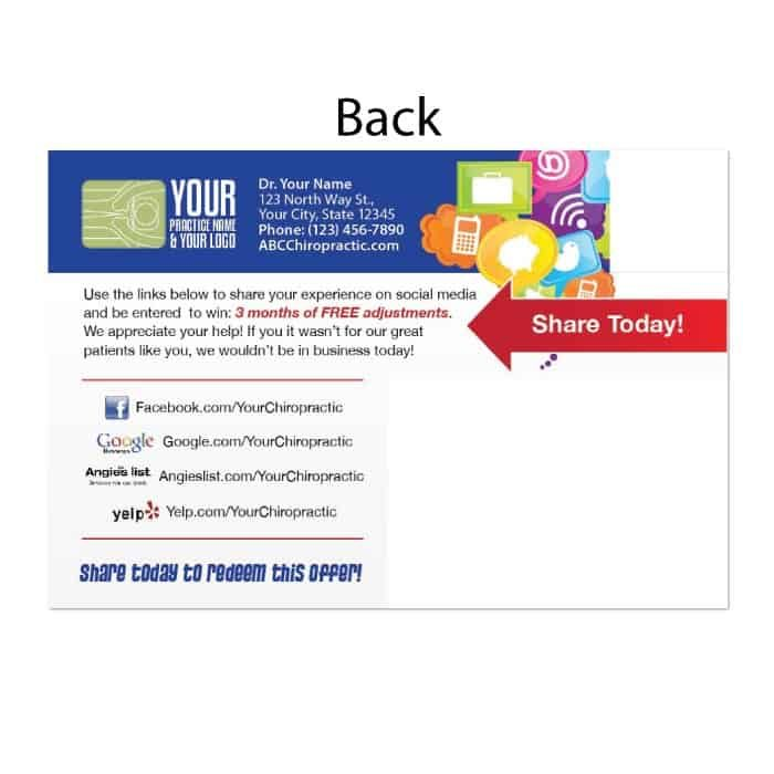 chiropractic postcards, existing patient postcard, recall postcard, social media