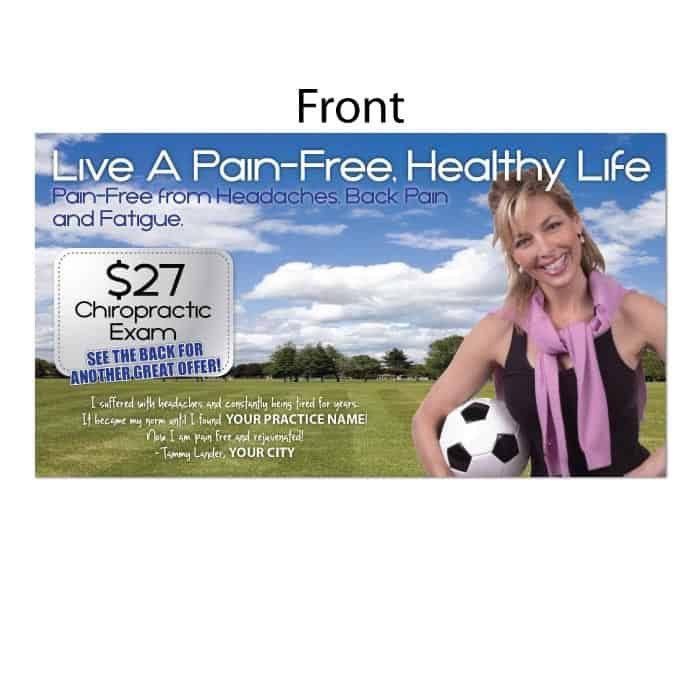 new patient postcard, ailment postcard, headaches, back pain, chiropractic postcard