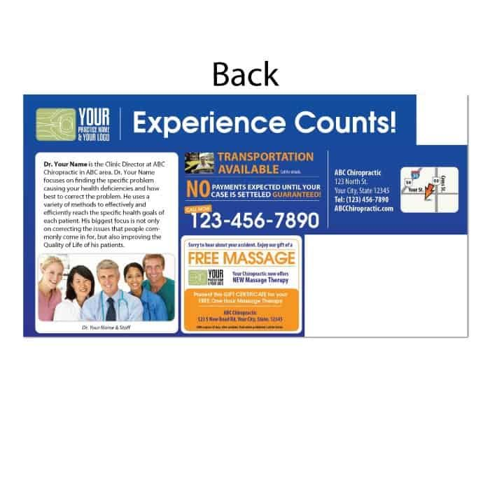 personal injury postcard, auto accident postcard, pi postcard, chiropractic postcard