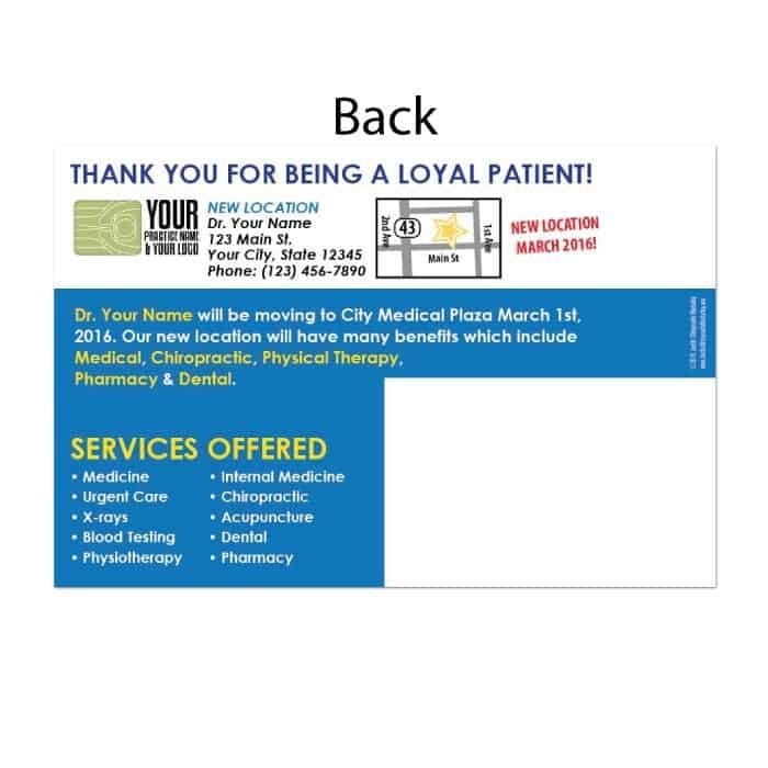 moving postcard, existing patient postcard, recall postcard, chiropractic postcard