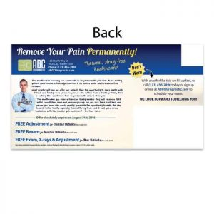 chiropractic postcard, existing patient postcard, new patient postcard, reactivation postcard, recall postcard