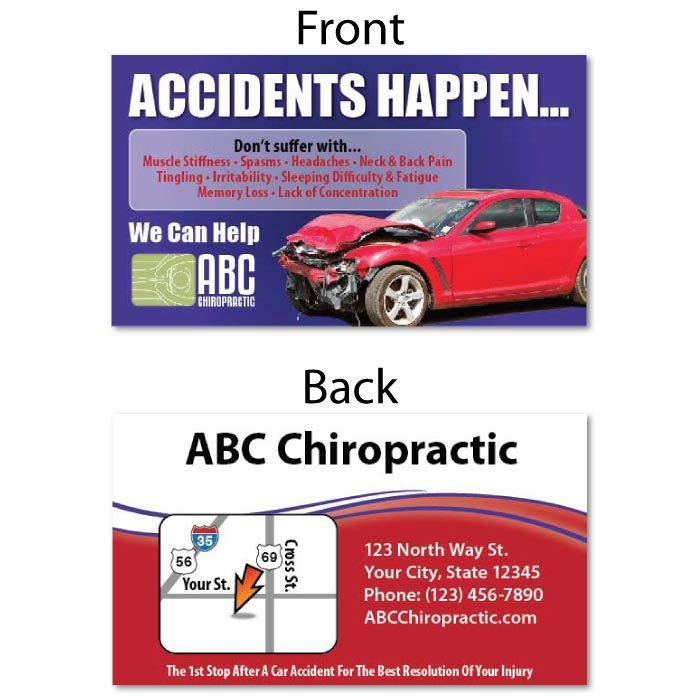personal injury marketing, pi marketing, auto accident marketing, pi referral card, chiropractic referral card, chiropractic business card
